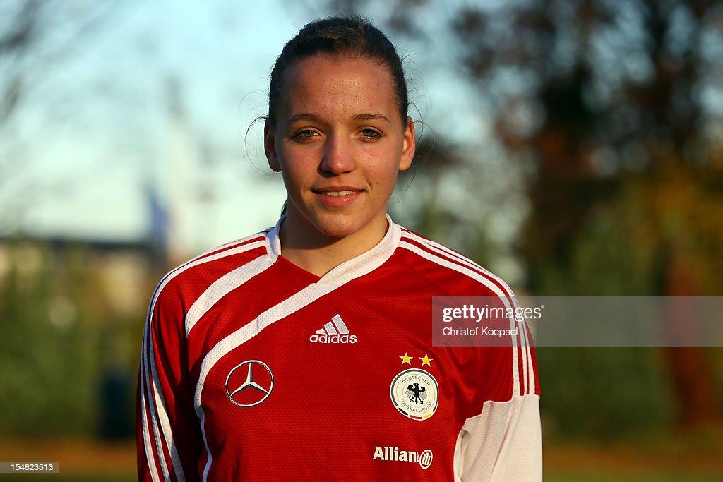 Lisa Karl poses during the Germany Women's U17 team presentation at Sport School Wedau on October 27, 2012 in Duisburg, Germany.