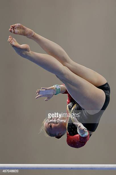 Lisa Katharina Hill of Germany performs on the uneven bars during the Women's Uneven Bars Final on day five of the 45th Artistic Gymnastics World...