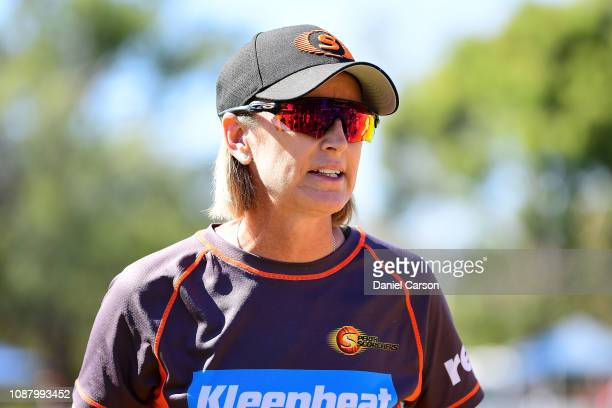 Lisa Keightley coach of The Scorchers addresses the team during the Women's Big Bash League match between the Perth Scorchers and the Sydney Thunder...