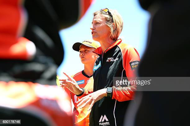 Lisa Keightley coach of the Scorchers addresss her players before the resumption of play during the WBBL match between the Scorchers and Heat at WACA...