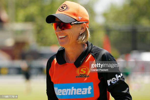 Lisa Keightley coach of the Scorchers is seen during the Women's Big Bash League match between the Melbourne Stars and the Perth Scorchers at...