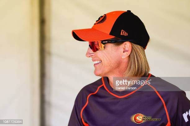 Lisa Keightley coach of The Scorchers looks on after the win during the Women's Big Bash League match between the Perth Scorchers and the Sydney...