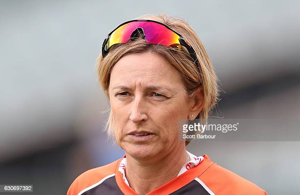 Lisa Keightley coach of the Scorchers looks on during the WBBL match between the Strikers and Scorchers at the Adelaide Oval on December 31 2016 in...