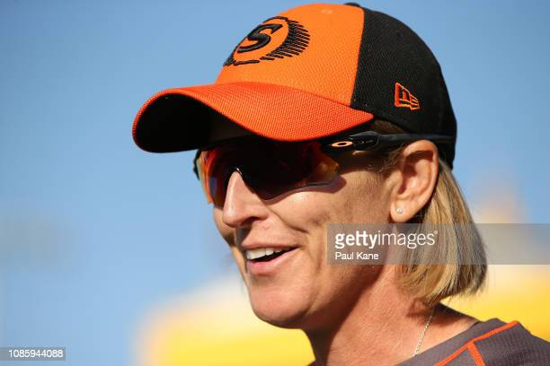 Lisa Keightley coach of the Scorchers looks on during the Women's Big Bash League match between the Perth Scorchers and the Melbourne Renegades at...