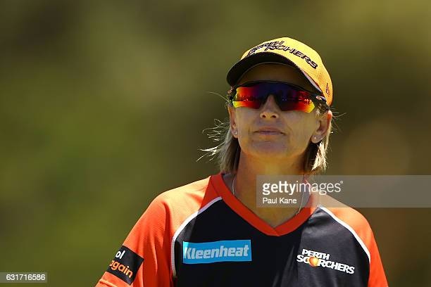 Lisa Keightley coach of the Scorchers looks on during the Women's Big Bash League match between the Melbourne Stars and the Perth Scorchers at Lilac...