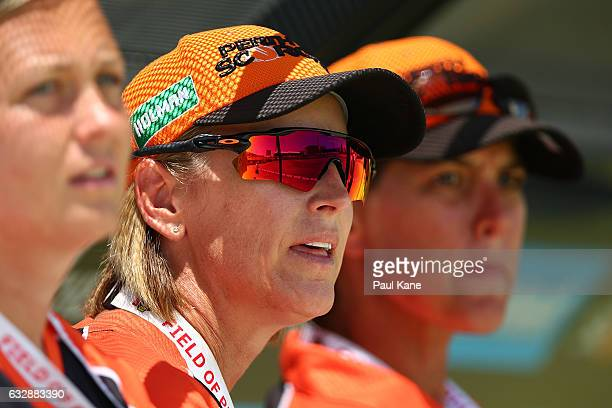 Lisa Keightley coach of the Scorchers looks on during the Women's Big Bash League match between the Perth Scorchers and the Sydney Sixers at WACA on...