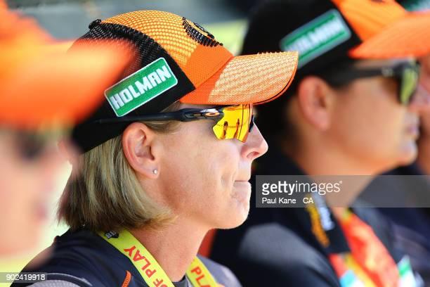 Lisa Keightley coach of the Scorchers looks on during the Women's Big Bash League match between the Perth Scorchers and the Sydney Thunder at WACA on...