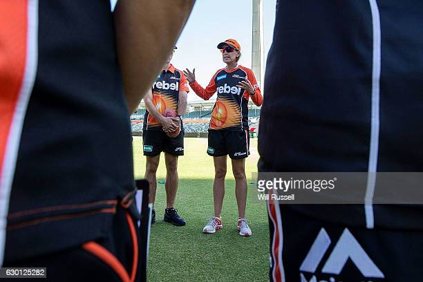 Lisa Keightley head coach of the Scorchers addresses the players during the WBBL match between the Brisbane Heat and Perth Scorchers at WACA on...