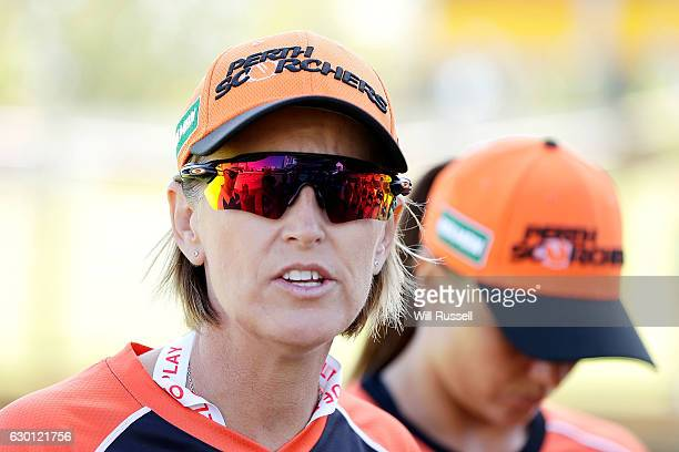 Lisa Keightley head coach of the Scorchers during the WBBL match between the Brisbane Heat and Perth Scorchers at WACA on December 17 2016 in Perth...