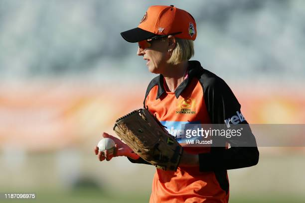 Lisa Keightley head coach of the Scorchers during the Women's Big Bash League match between the Sydney Thunder and the Perth Scorchers at WACA on...