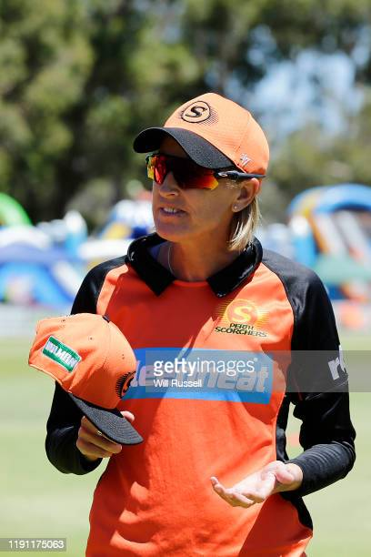 Lisa Keightley head coach of the Scorchers during the Women's Big Bash League match between the Hobart Hurricanes and the Perth Scorchers at Lilac...