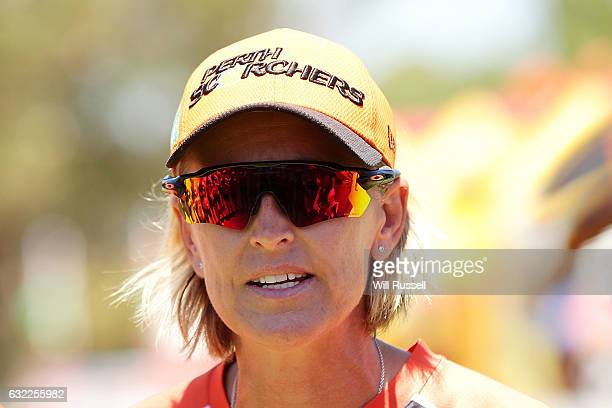 Lisa Keightley head coach of the Scorchers during the Women's Big Bash League match between the Sydney Thunder and the Perth Scorchers at Lilac Hill...
