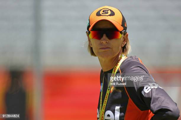 Lisa Keightley head coach of the Scorchers watches the team warm up before the Women's Big Bash League match between the Sydney Thunder and the Perth...