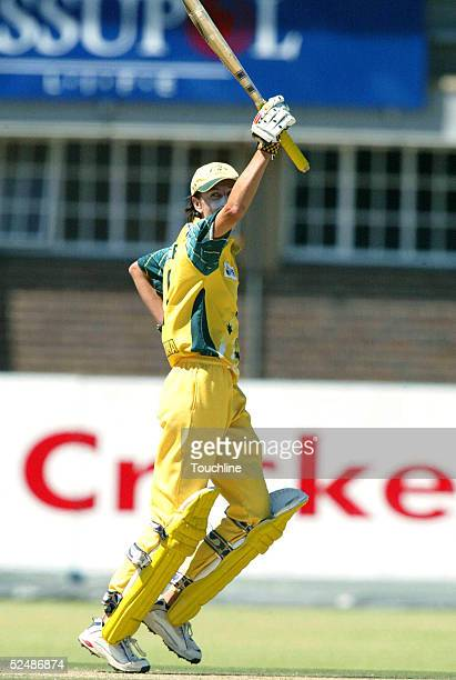 Lisa Keightley of Australia celebrates her century during the Womens Cricket World Cup match between South Africa and Australia at the LC Oval on...