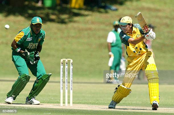 Lisa Keightley of Australia in action during the Womens Cricket World Cup match between South Africa and Australia at the LC Oval on March 28 2005 in...