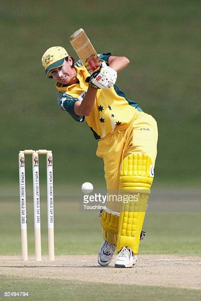 Lisa Keightley of Australia plays a shot during the IWCC Women's World Cup match between Australia and Sri Lanka on March 30 2005 at the LC Oval in...