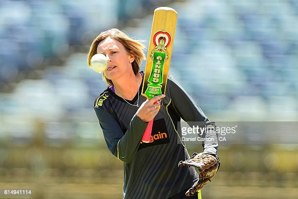 Lisa Keightly coach of the WA Fury helps with warmup between innings during the WNCL match between Western Australia and Victoria at WACA on October...