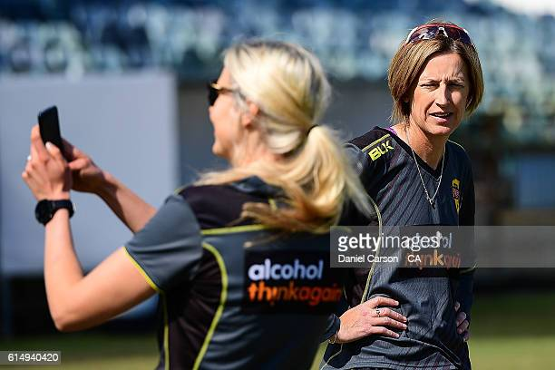 Lisa Keightly coach of the WA Fury looks on at warmup during the WNCL match between Western Australia and Victoria at WACA on October 16 2016 in...