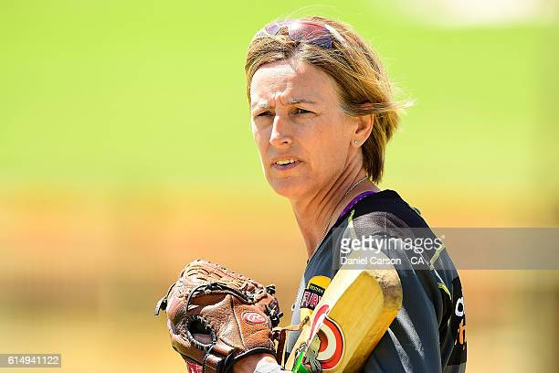 Lisa Keightly coach of the WA Fury looks on between innings during the WNCL match between Western Australia and Victoria at WACA on October 16 2016...