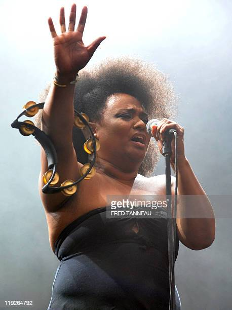 Lisa Kekaula from US garage rock band BellRays performs on stage during the Vieilles Charrues festival 20th edition on July 15 2011 in Carhaix...