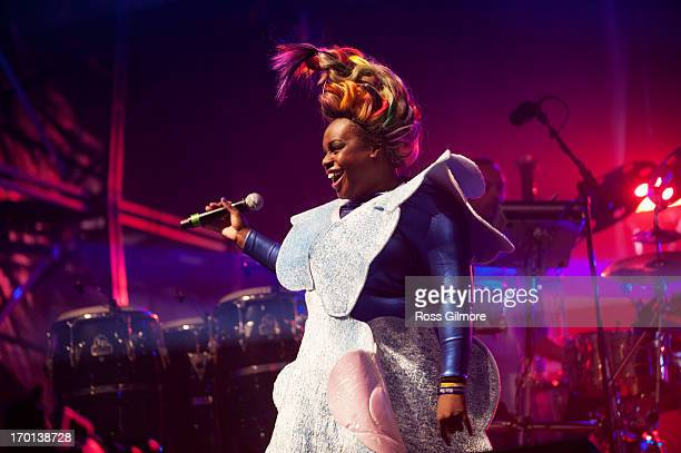 Lisa Kekaula of Basement Jaxx performs on stage on Day 1 of Rockness Festival 2013 at Clune Farm Loch Ness on June 7 2013 in Inverness Scotland