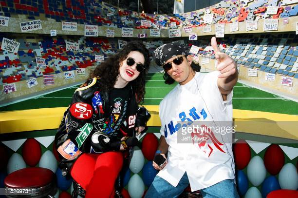 Lisa Kennedy Montgomery and Dan Cortese at The 1993 MTV Super Bowl Show at The Rose Bowl on January 31st 1993 in Anaheim CA