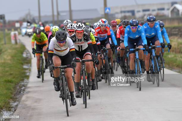 Lisa Klein of Germany and Team Canyon SRAM Racing / Floortje Mackaij of The Netherlands and Team Sunweb / Peloton / Mud / during the 1st 3 Days De...
