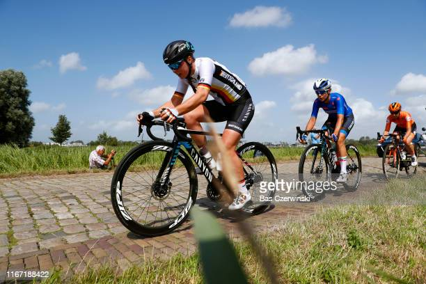 Lisa Klein of Germany / Elena Cecchini of Italy / Amy Pieters of Netherlands / Cobblestones / during the 25th UEC Road European Championships 2019,...