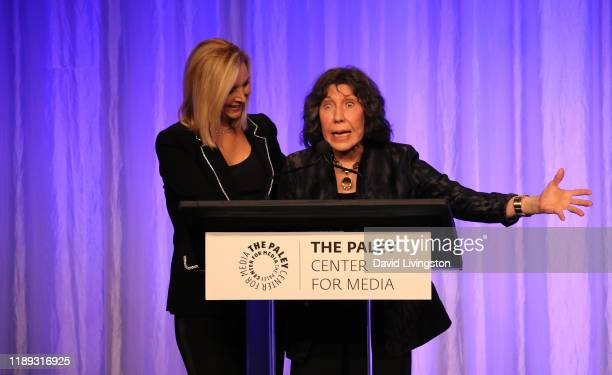 Lisa Kudrow _ and Lily Tomlin appear on stage at The Paley Honors: A Special Tribute To Television's Comedy Legends at the Beverly Wilshire Four...