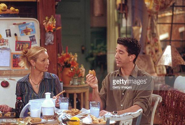 """Lisa Kudrow and David Schwimmer act in a scene from """"Friends"""" ."""