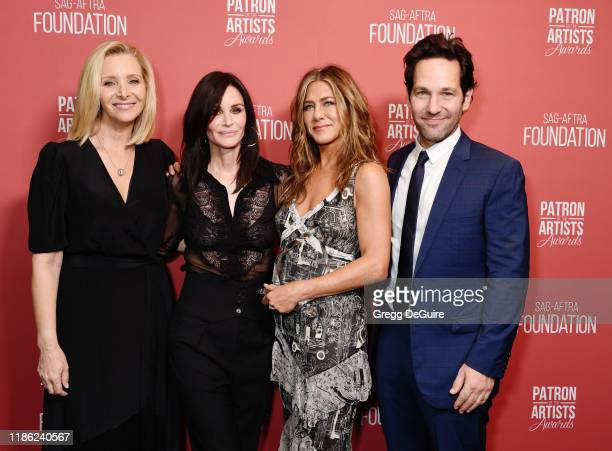 Lisa Kudrow, Courteney Cox, winner of the 'Artists Inspiration Award' Jennifer Aniston, and Paul Rudd attend SAG-AFTRA Foundation's 4th Annual Patron...