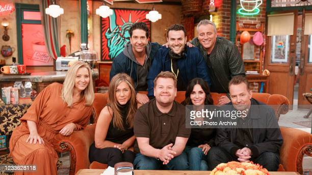 Lisa Kudrow, Jennifer Aniston, Courtney Cox, David Schwimmer, Matt LeBlanc, and Matthew Perry join James Corden for a Friends Reunion Special during...