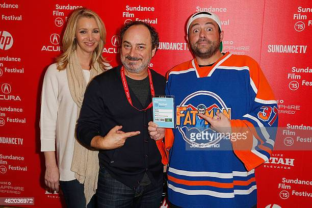 Lisa Kudrow Kevin Pollak and Kevin Smith attend the 'Misery Loves Comedy' Premiere at the Egyptian Theatre during the 2015 Sundance Film Festival on...