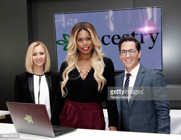 Lisa Kudrow Laverne Cox and Dan Bucatinsky attend the 'Who Do You Think You Are' FYC event at Wolf Theatre on June 5 2018 in North Hollywood...