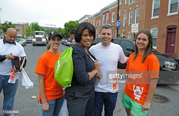 Lisa La Placa Baltimore Mayor Stephanie RawlingsBlake Dave Jacobs and Lisa Salvatore kick off AOL's 2nd Annual Monster Help Day During A Press...