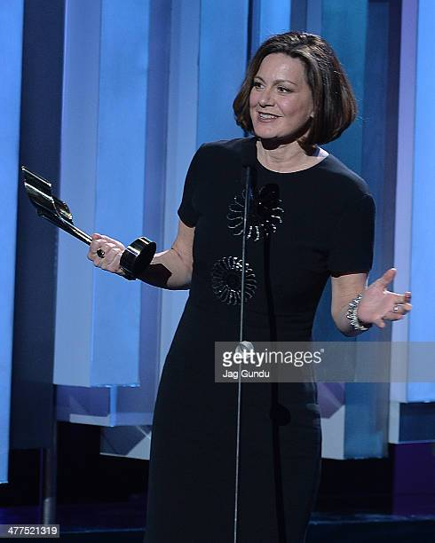 Lisa Laflamme accepts her award for best news anchor at the 2014 Canadian Screen Awards at Sony Centre for the Performing Arts on March 9 2014 in...