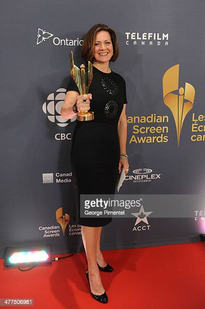 Lisa LaFlamme winner of the Best News Anchor poses in the press room at the 2014 Canadian Screen Awards at Sony Centre for the Performing Arts on...