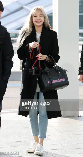 Lisa leaves Incheon International Airport for a concert in Bankok January 09 2019 in Incheon South Korea