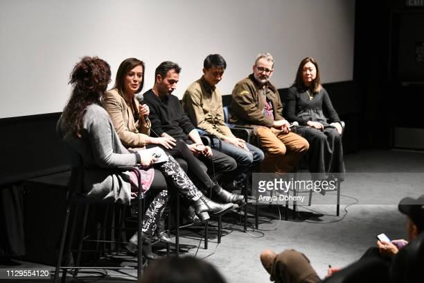 Lisa Leeman Alexandria Bombach Talal Derki Bing Liu Morgan Neville and Sandi Tan attend the Film Independent Directors CloseUp Another Type Of...