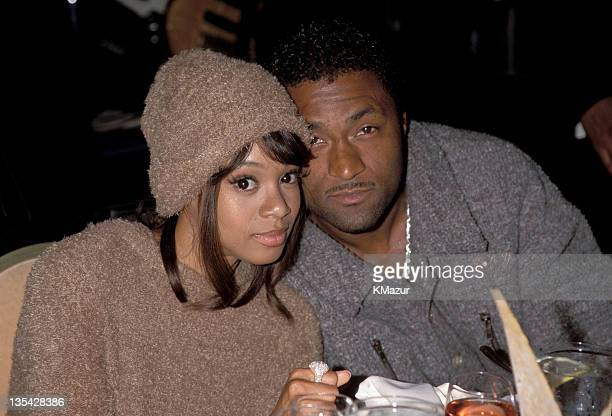 Lisa 'Left Eye' Lopes and Andre Rison photographed during the Arista PreGrammy Party Lopes was killed in a car crash in the Honduras April 25 2002