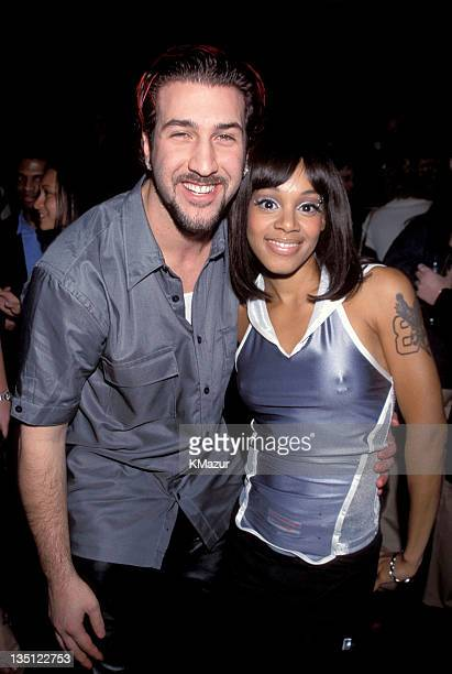 Lisa Left Eye Lopes and Joe Fatone photographed during Nsync No String Attached album release party in New York Lopes was killed in a car crash in...