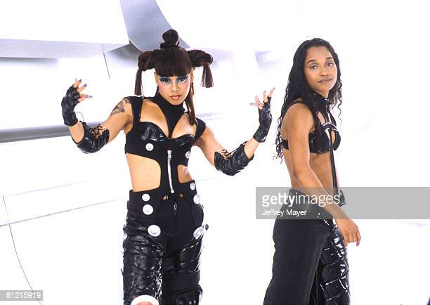 Lisa Left Eye Lopes Rozonda Chilli Thomas of TLC at the filming of their video No Scrubbs at Barker Hangar in Santa Monica CA March 15th 1999 Lopes...