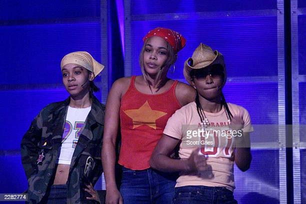 Lisa Left Eye Lopes T boz and Chilli of TLC rehearsing for the MTV 20th Anniversary party MTV20 Live and Almost Legal at Hammerstein Ballroom in New...