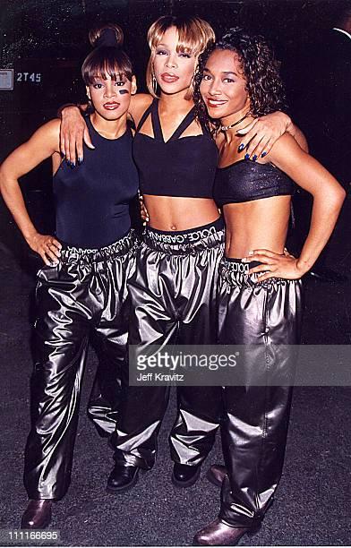 Lisa Left Eye Lopes Tionne TBoz Watkins and Rozonda Chilli Thomas of TLC attend the 1995 MTV Movie Awards June 10 1995 at Warner Bros Studios in...