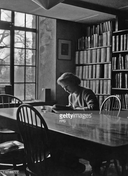 Lisa Leighton of Fairfield Connecticut studying in the library at the Sarah Lawrence College in New York in 1948