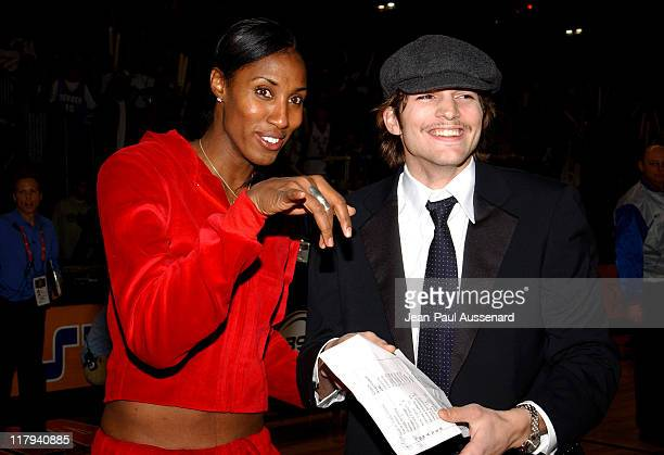 Lisa Leslie and Ashton Kutcher during 2004 NBA AllStar Celebrity Game at Los Angeles Convention Center in Los Angeles California United States