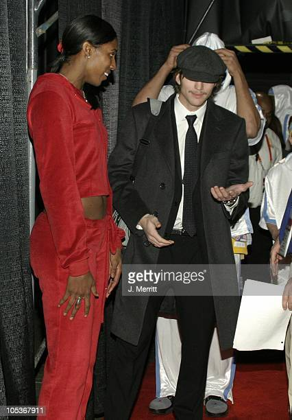 Lisa Leslie and Ashton Kutcher during NBA AllStar Celebrity Game at Los Angeles Convention Center in Los Angeles California United States
