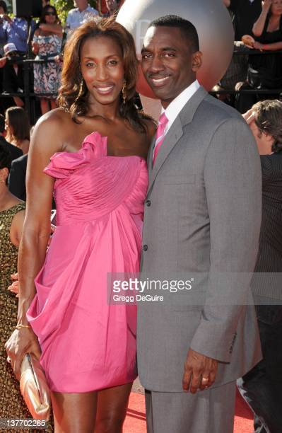 Lisa Leslie and husband Michael Lockwood arrive at the 2010 ESPY Awards at the Nokia Theatre LA Live on July 14 2010 in Los Angeles California