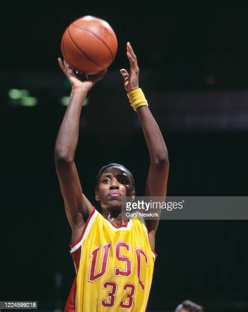 Lisa Leslie Center for the University of Southern California Trojans attempts a free throw during the NCAA UCLA Tournament college basketballl game...
