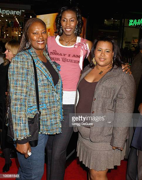Lisa Leslie mom Chris and sister Tiffany during 'Coach Carter' Los Angeles Premiere Arrivals at Grauman's Chinese Theatre in Hollywood California...